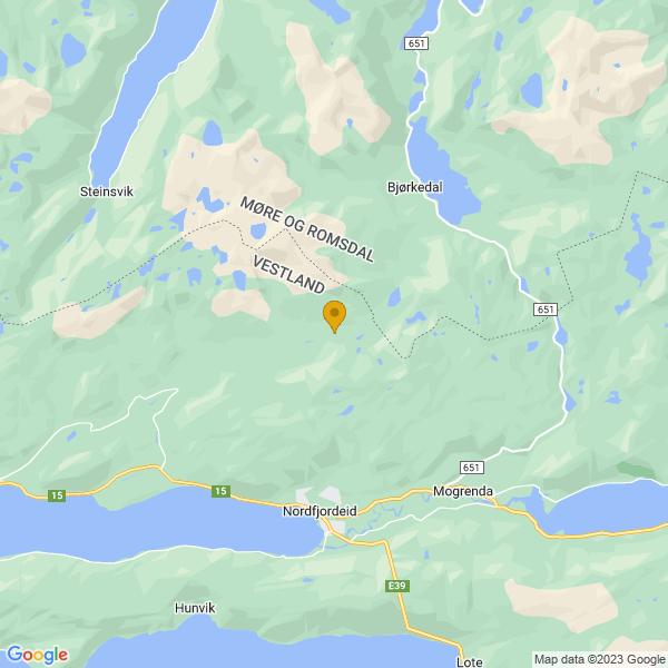 Google Map of 61.96347391710182,5.994490385055542