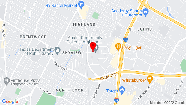 Google Map of 6101 Highland Campus Dr., Austin, TX
