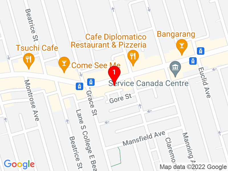Google Map of 611 College St, Toronto, ON