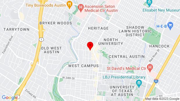 Google Map of 613 West 29th Street, Austin, TX 78705
