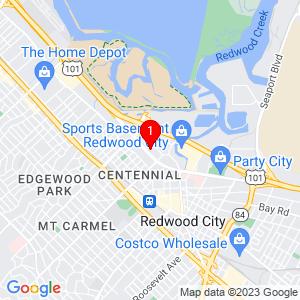 Google Map of 617 Veterans Blvd, Redwood City, CA 94063