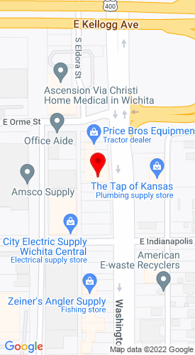 Google Map of Price Brothers Equipment 619 S Washington, Wichita, KS,