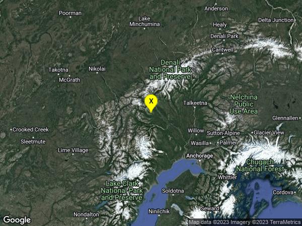 earthquake 100km W of Talkeetna, Alaska