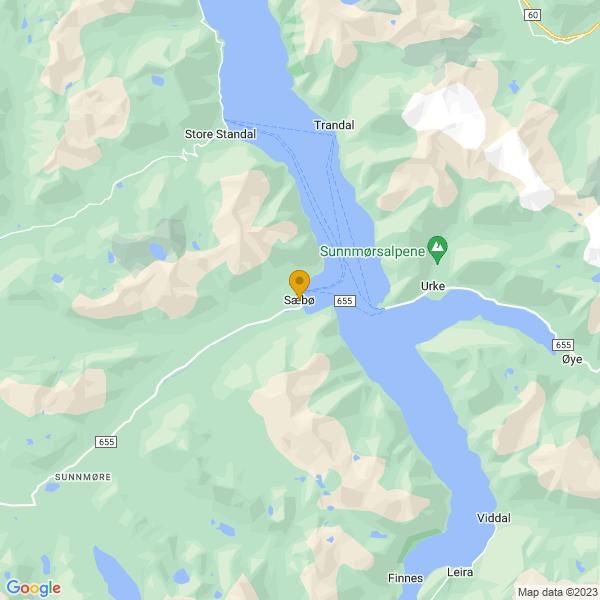 Google Map of 62.20839419999999,6.475541499999999