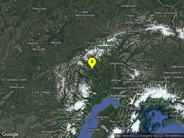 earthquake 88km W of Talkeetna, Alaska
