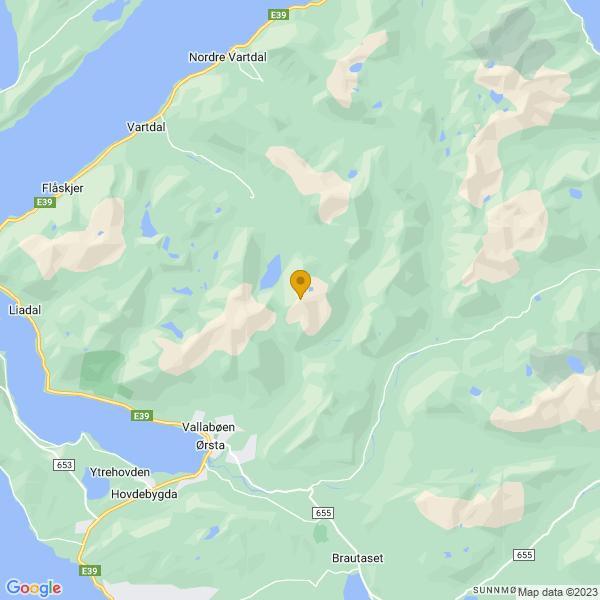 Google Map of 62.24452299999999,6.1890091