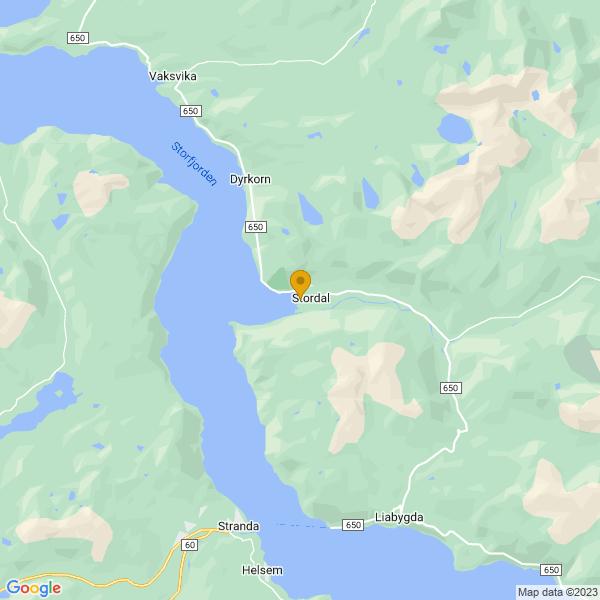 Google Map of 62.38119560000001,6.984791299999999