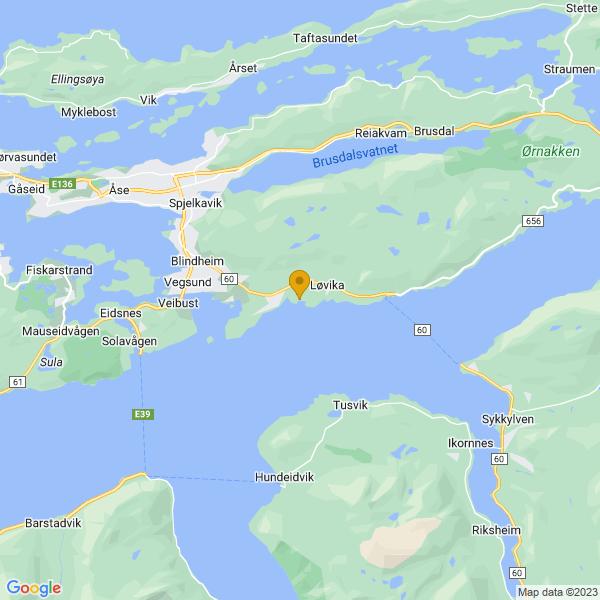 Google Map of 62.43064529999999,6.4369773