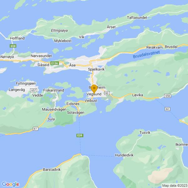 Google Map of 62.4363505,6.360652099999999