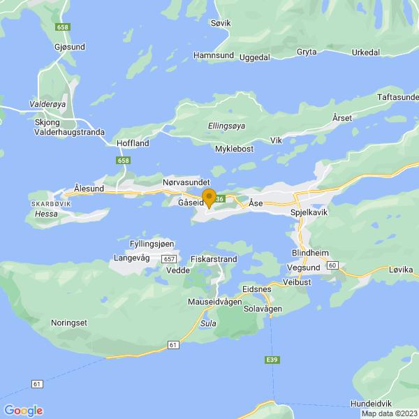 Google Map of 62.46278599999999,6.2676279