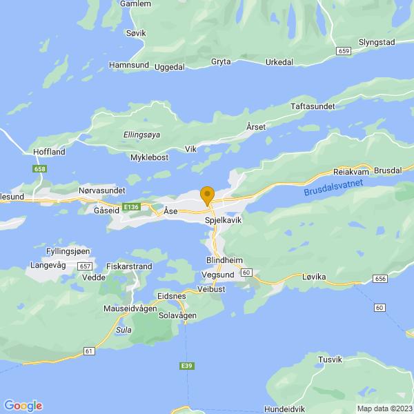 Google Map of 62.4677497,6.3495273