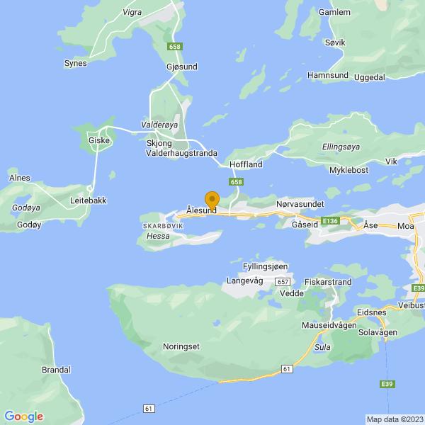 Google Map of 62.4712975,6.159665299999999