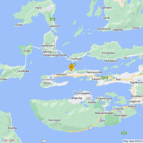 Google Map of 62.4762258,6.1782558