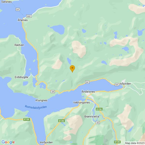 Google Map of 62.592500632289884,7.642067625315971