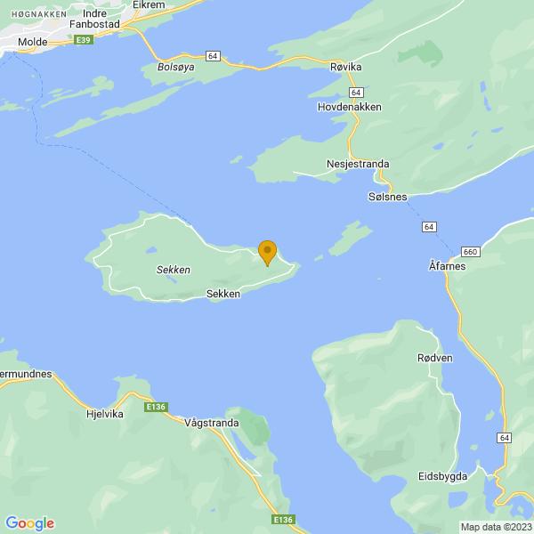 Google Map of 62.660633976666674,7.361676660698135