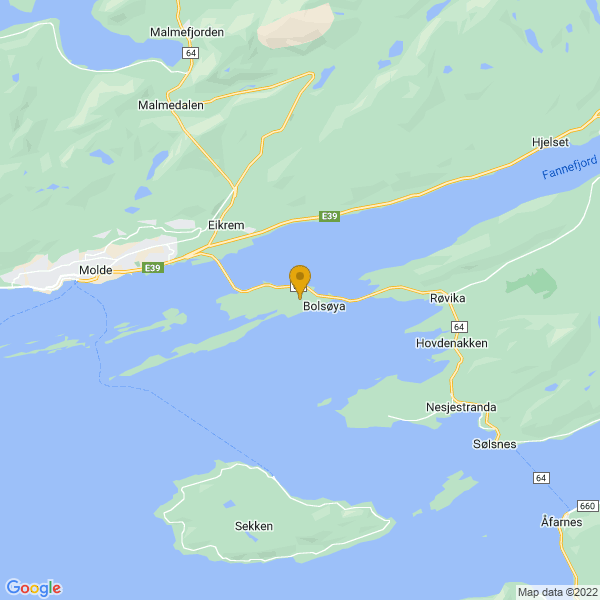 Google Map of 62.73067709999999,7.3213336