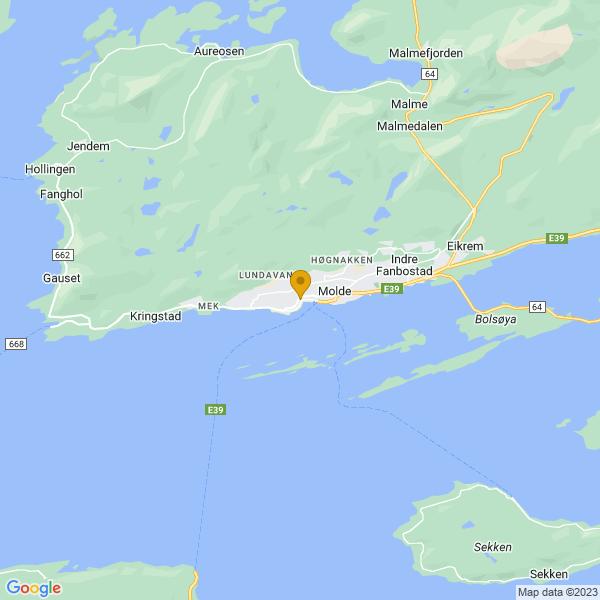 Google Map of 62.73739519999999,7.1569435