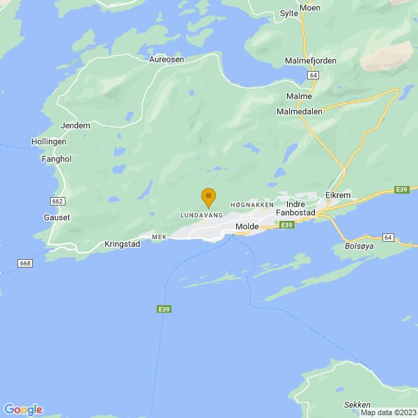 Google Map of 62.748030288963704,7.142980336261315