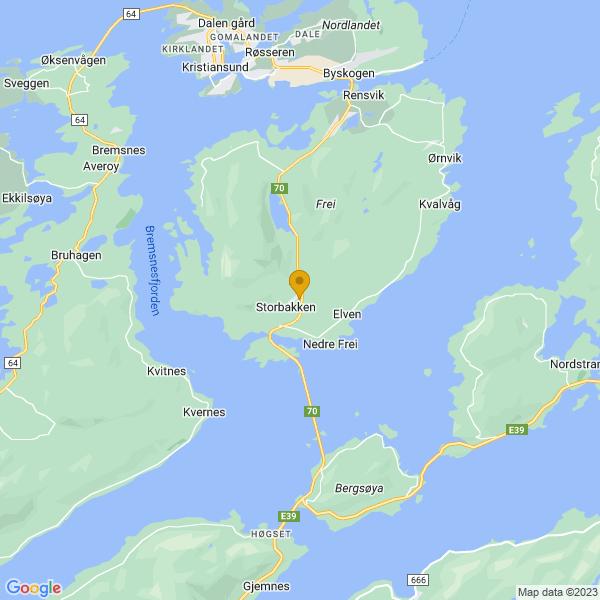 Google Map of 63.0379397,7.7856003