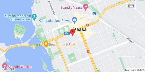 Kartta: Vaasan kaupungin nuorisopalvelut, Raastuvankatu, Vaasa