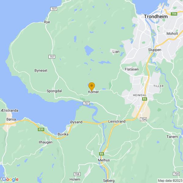 Google Map of 63.354939549327106,10.250378040749148