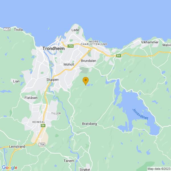 Google Map of 63.39059088685596,10.472045329919757