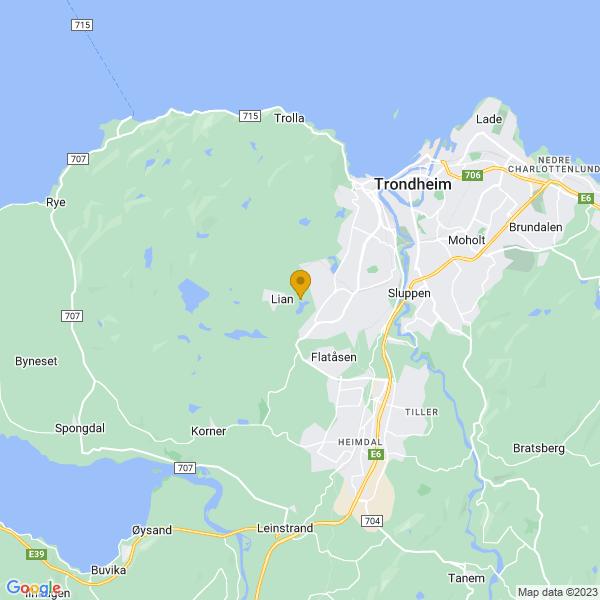 Google Map of 63.3948912,10.3176005