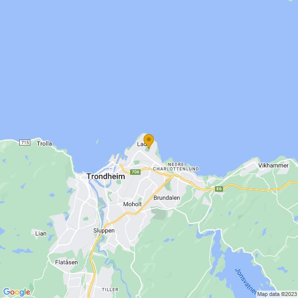 Google Map of 63.44732560000001,10.4546255