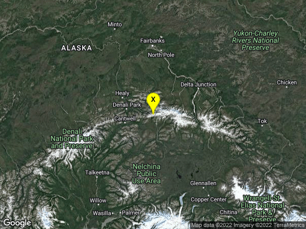 earthquake 64km ENE of Cantwell, Alaska