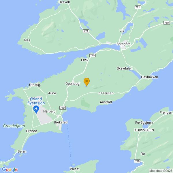 Google Map of 63.72399942462867,9.72392311759891