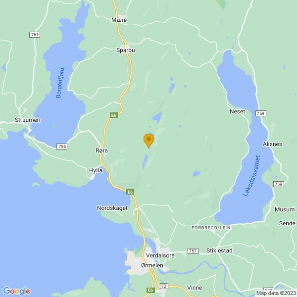Google Map of 63.858876303136405,11.465241058886704