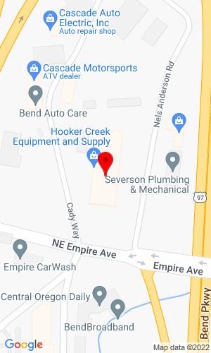 Google Map of Hooker Creek Equipment and Supply 63101 Nels Anderson Road, Bend, OR, 97701