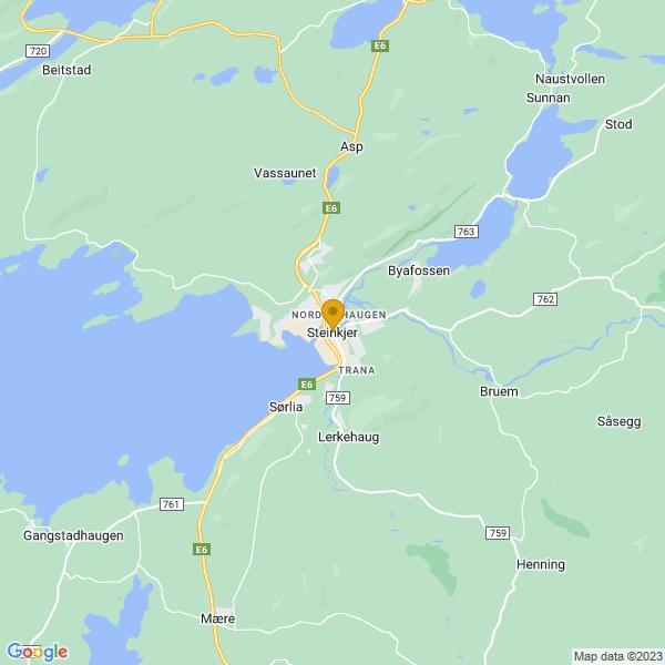 Google Map of 64.01501929999999,11.4952627