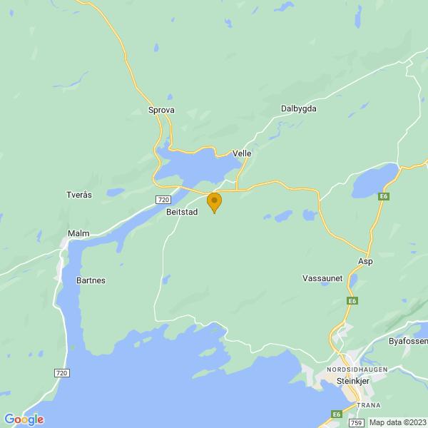 Google Map of 64.0855357,11.3614996