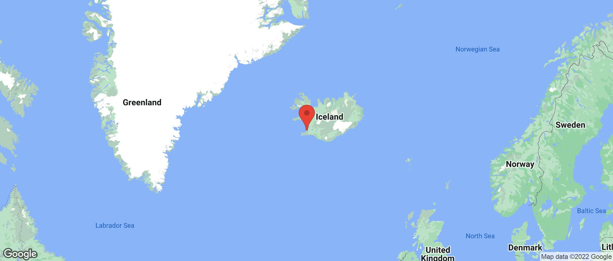 Map showing the location of Iceland