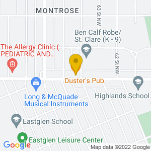 Map to Dusters Pub provided by Google
