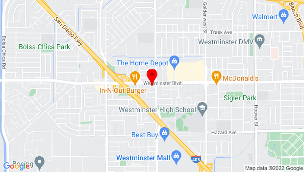 Google Map of 6450 Westminster Blvd, Westminster, CA 92683