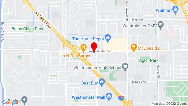 Google Map of 6450 Westminster Blvd, Westminster, CA
