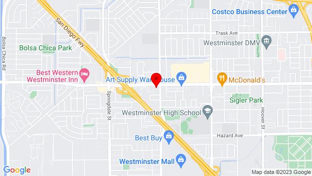Google Map of 6450 Westminster Blvd, Westminster, CA