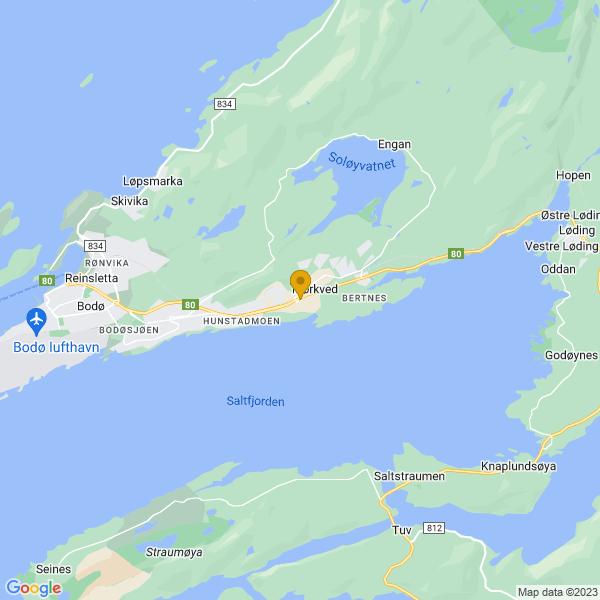 Google Map of 67.2818817,14.5489667