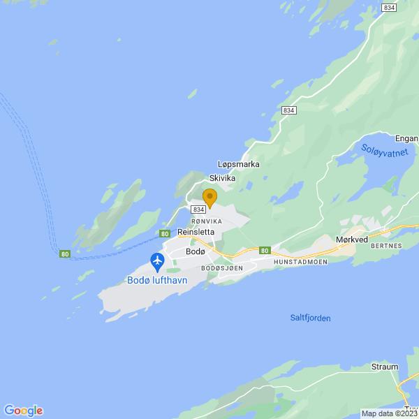 Google Map of 67.29629532112564,14.419185351959237