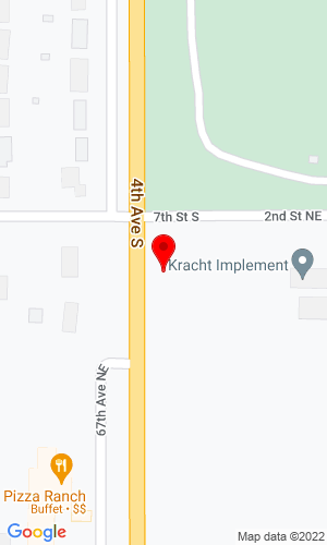 Google Map of Kracht Implement Inc 6700 Second Street Ne, Carrington, ND, 58421