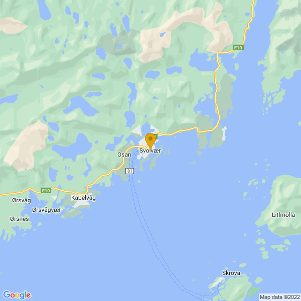 Google Map of 68.2343088,14.5682237
