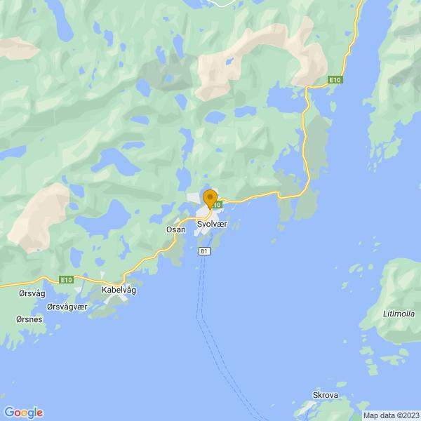 Google Map of 68.2391852,14.5661781