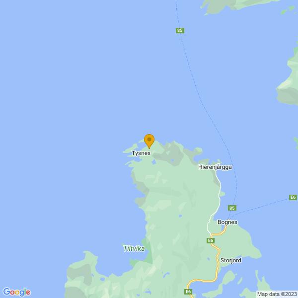 Google Map of 68.26117610000001,15.9653316