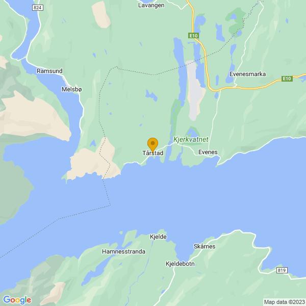 Google Map of 68.4603596,16.625039499999957