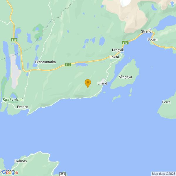 Google Map of 68.47694717699065,16.852059318184388