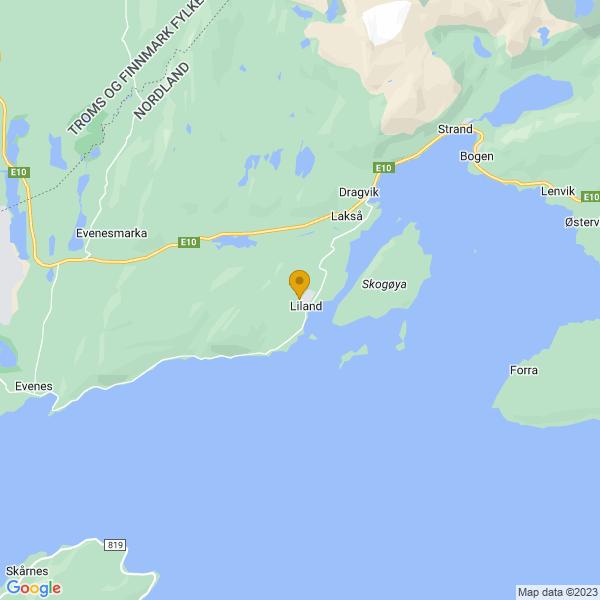 Google Map of 68.48252990366127,16.88171387377429