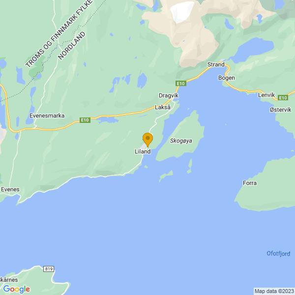 Google Map of 68.48285250451535,16.893146062305007