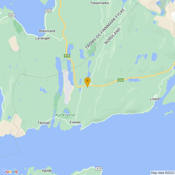 Google Map of 68.49063656498758,16.728191065316842